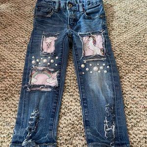 Unicorn pearl distress jeans